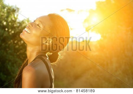 Smiling African American Sports Woman Standing Outdoors