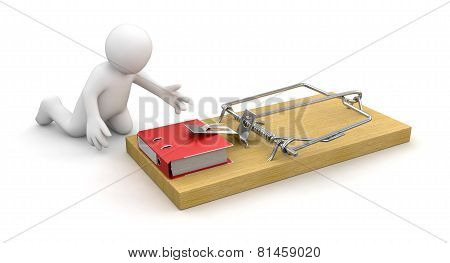 Man and Mousetrap with Document (clipping path included)