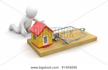 Man and Mousetrap with house (clipping path included)