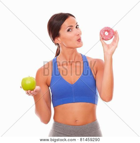 Smiling Sporty Lady Wanting To Eat Donut