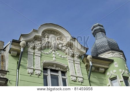 Ancient renovated building with decoration in Ruse town