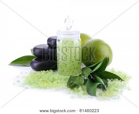 Spa composition with lime and sea crystals isolated on white
