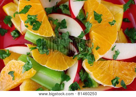 Waldorf salad with orange close up