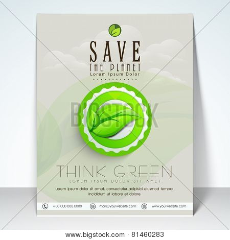 Stylish flyer, template or banner for Save the Planet concept.