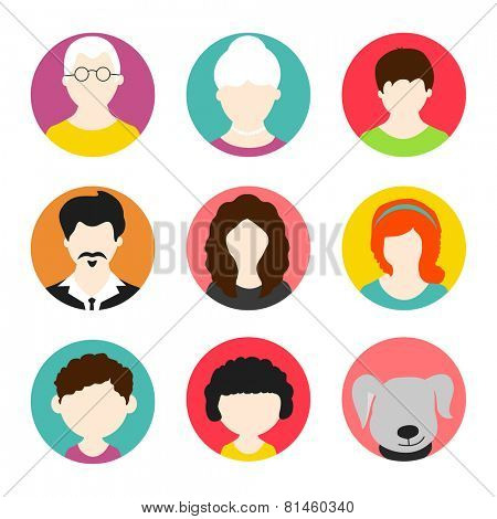 Colorful set of a happy family avatars with pet dog on white background.