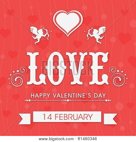 Beautiful love greeting card design for 14 February, Happy Valentine's Day celebration on hearts decorated red background.