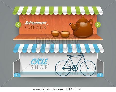 Stylish website header or banner for cafe and cycle shop.