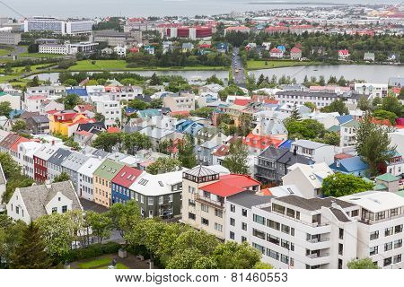 Reykjavik houses aerial view and pond, Iceland
