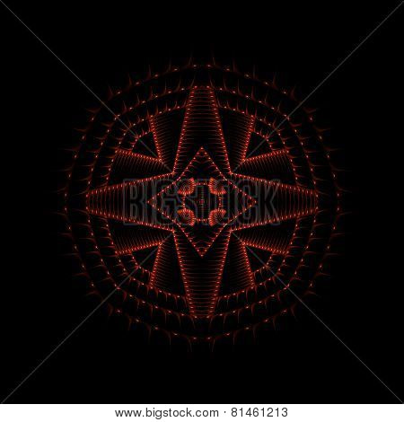 Red crosshair star circle symbol