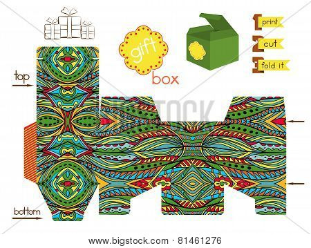 Printable Gift Box With Bright Ethnic Pattern