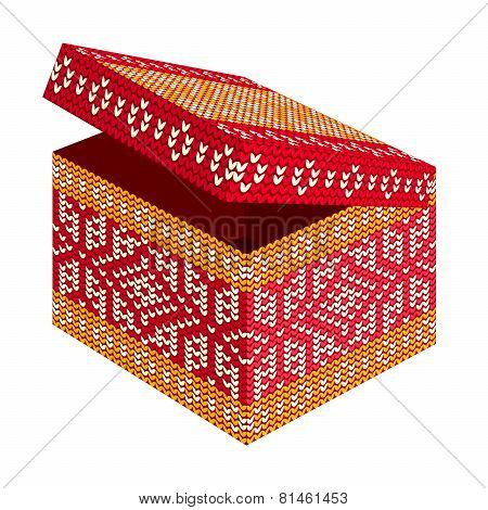 Holiday Gift Box With Scandinavian Style Knitted Pattern