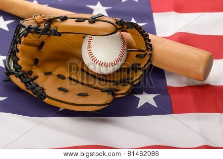 Leather Glove With Baseball And Baseball Bat