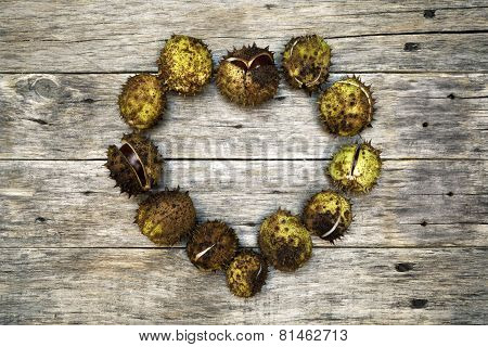 Colorful Decoration With Horse-chestnut Heart.