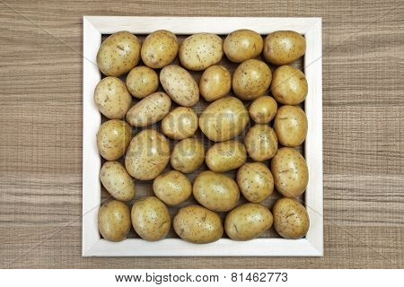 Beautiful Decoration With Square Frame Of Fresh Potatoes.
