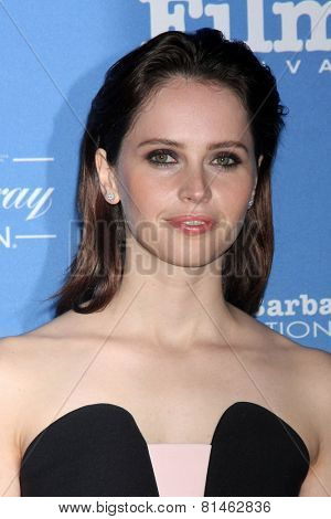 SANTA BARBARA - JAN 29:  Felicity Jones at the Santa Barbara International Film Festival - Cinema Vanguard Award at a Arlington Theater on January 29, 2015 in Santa Barbara, CA