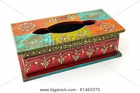 Wooden tissue box isolated on white