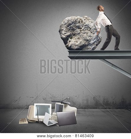 Businessman destroy technology