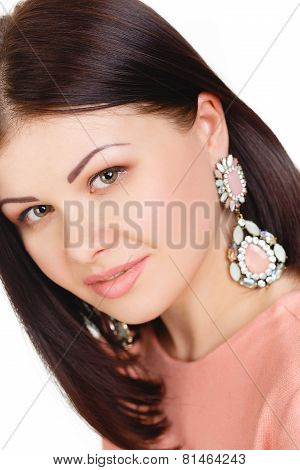 Portrait of a beautiful woman on a white background.