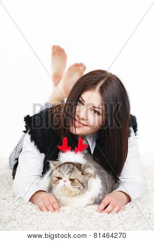 Beautiful woman with her beloved cat.
