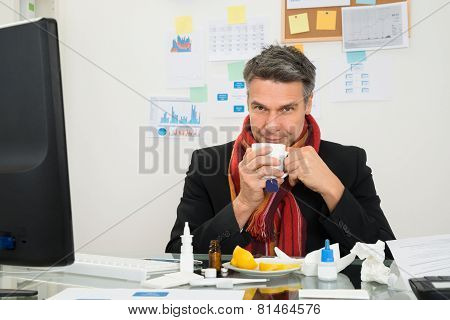 Businessman Drinking Lemon Tea