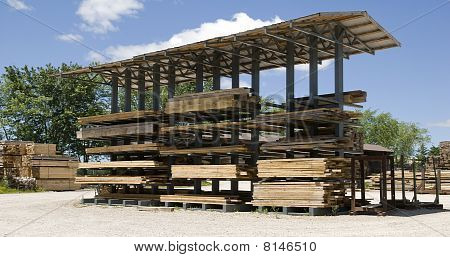 stacked timber for drying