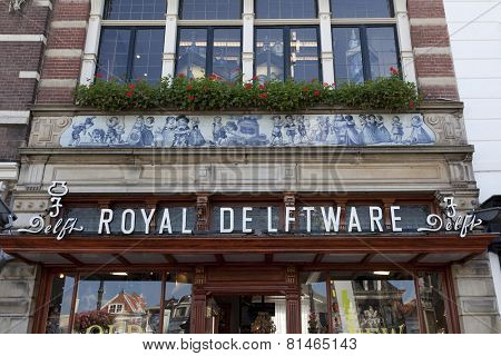 DELFT,NETHERLANDS - SEPTEMBER 17, Facade of a souvenir shop