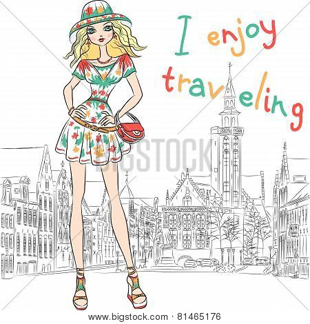 Vector beautiful fashion girl in dress and hat