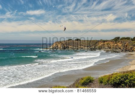 Kitesurfing on the coast of California