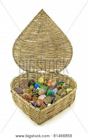 Healing crystals in heart-shaped basket