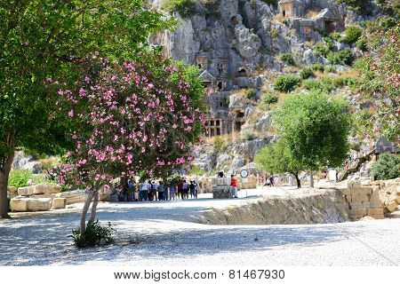 The Rock-cut Tombs In Myra And Bougainvillea Tree, Antalya, Turkey