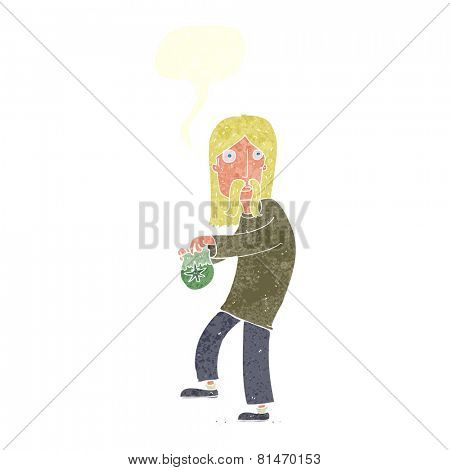 cartoon man with bag of weed