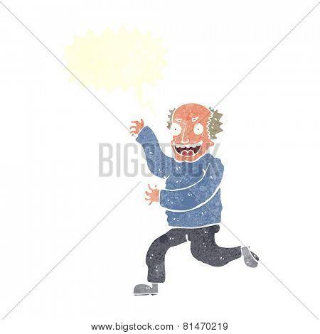 cartoon evil old man with speech bubble