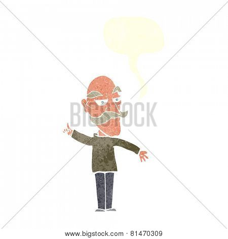 cartoon old man telling story with speech bubble