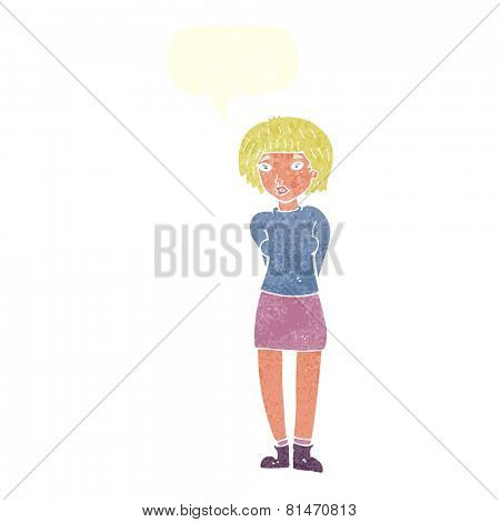 cartoon shy woman with speech bubble