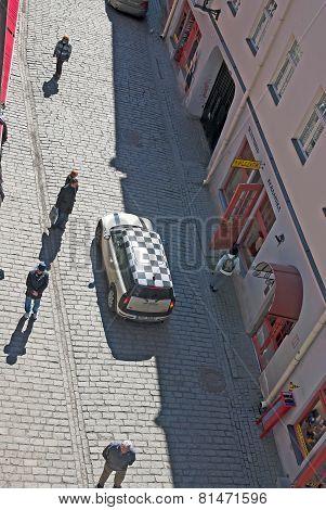 Tallinn. Estonia. Top view of the car in Old Town