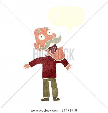 cartoon terrified old man with speech bubble