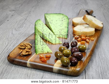 Cheese Plate: French Solid Cheese And Olives Provencal