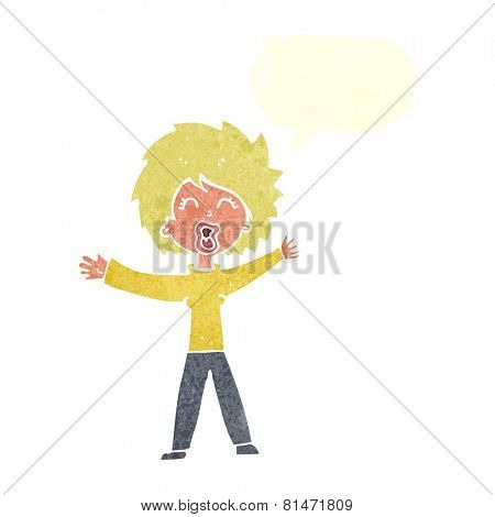 cartoon woman shouting with speech bubble