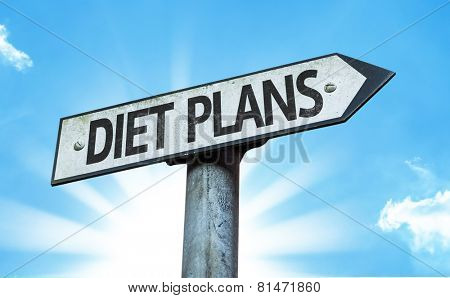 Diet Plans sign with a beautiful day