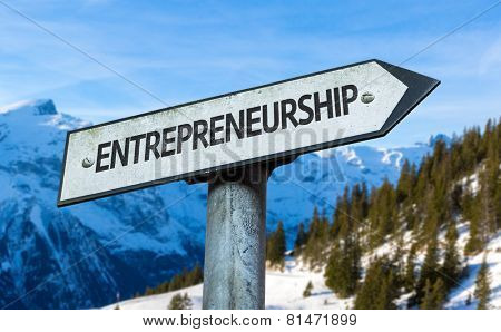 Entrepreneurship sign with winter background