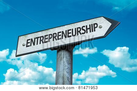 Entrepreneurship sign with sky background