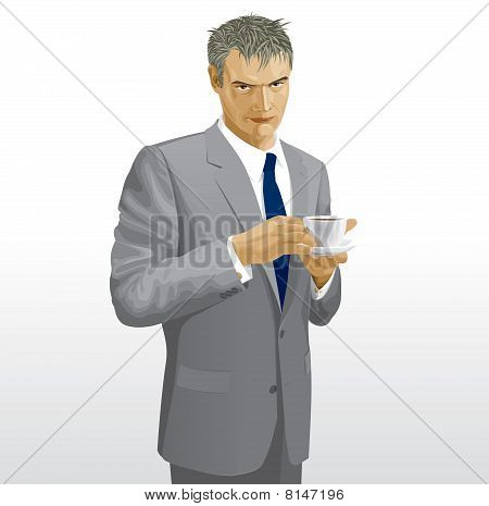 Businessman in a gray suit