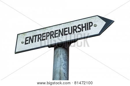 Entrepreneurship sign isolated on white background