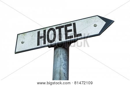 Hotel sign isolated on white background