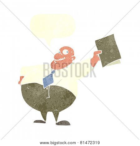cartoon happy boss with file with speech bubble