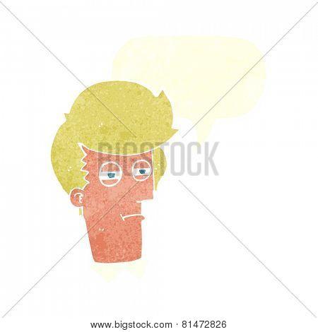 cartoon suspicious man