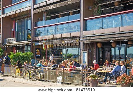 Oslo. Norway. People in McDonald's restaurant
