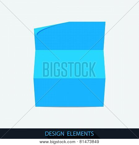 Landscape folded sheet of paper.
