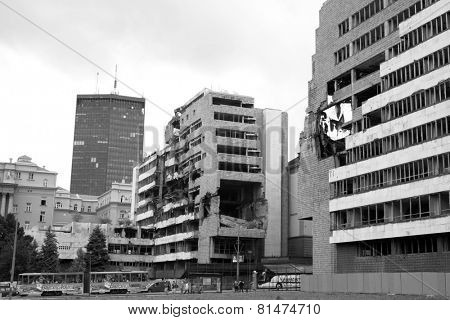 BELGRAD, SERBIA - AUGUST 01: ruins of Ministry of Defense building bombed by NATO in 1999. Shot in 2014
