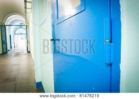 Blue Door In Old Prison